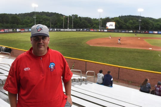 Licking County Settlers general manager TJ Lyons at the ball park during a rainy day as the Settlers play the Cincinnati Steam.