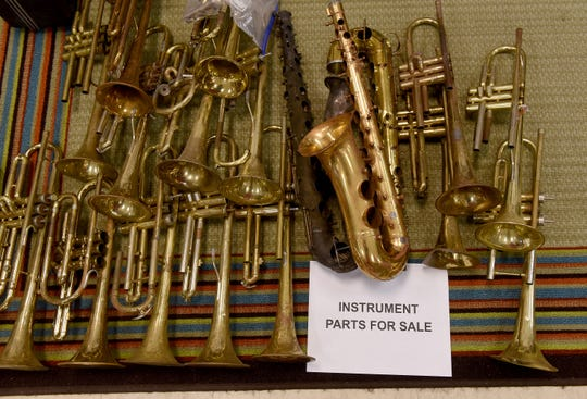 Trumpet and saxophone parts for sale at Martin Music on 21st Street in Newark. Martin Music, which has been in business for 71 years, is planning to close its doors July 31.