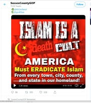 The Sussex County Republican Committee is under fire for running a Twitter page filled with anti-Muslim comments.