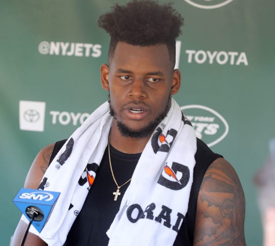 Tight end Chris Herndon talks during a press conference following the first day of training camp for the NY Jets at the Atlantic Health Training Center in Florham Park, NJ on July 25, 2019.