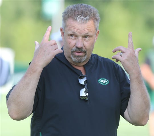 Defensive coordinator Greg Williams on the first day of training camp for the NY Jets at the Atlantic Health Training Center in Florham Park, NJ on July 25, 2019.