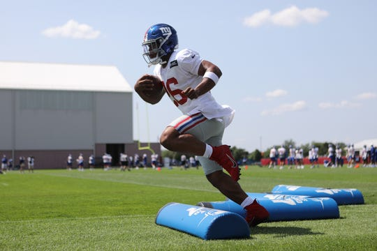 Saquon Barkley is shown at Giants practice, Thursday, July 25, 2019.