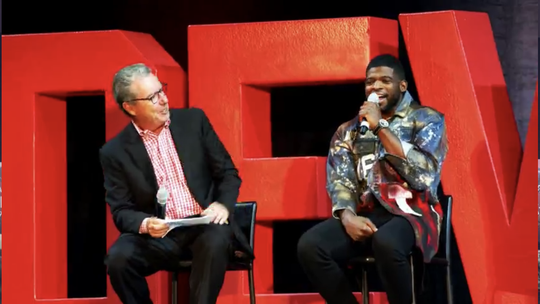 P.K. Subban talks with Devils announcer Matt Loughlin on stage at Prudential Center.
