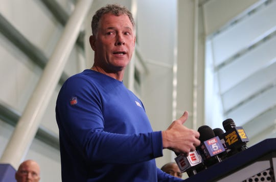 Giants Head Coach, Pat Shurmur, speaks to the press, in East Rutherford, Thursday, July 25, 2019.