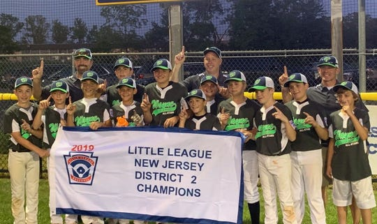 Wayne 12U: (from left) Jake Donofio, Leo Giovanniello, coach John Immediato, Jonnie Mongelli, Brenden Immediato, Jack Monisera, Gavin Bickford,  Joey Cappizano, JT Pugliese, coach Jim Patten, Shane Patten, Drew Ziegler, Alex Rojas, coach Dave Monisera and  Christopher Pellegrino. Not pictured, Sean Heaney.