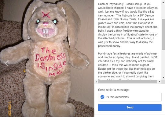 "This listing is for a 20"" Demon Possessed Killer Bunny Plush that we hope will only be used for Halloween."