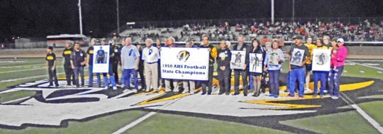 The Class of 1950 reunion at the AHS Tigers football game against Artesia October 7, 2016.