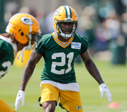 Safety Natrell Jamerson (21) keeps his eye on the ball during Green Bay Packers training camp at Ray Nitschke Field Thursday, July 25, 2019, in Green Bay, Wis.