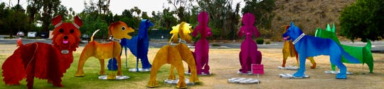 """K9 Wedding Party"" is the latest outdoor installation by artists Karen and Tony Barone. It is located on the open field east of The Atrium on Highway 111 in Rancho Mirage."