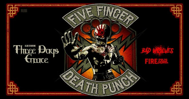 Five Finger Death Punch will perform in Pensacola on Nov. 15 as part of a 30-date tour this fall with Three Days Grace, Bad Wolves and Fire From The Gods.