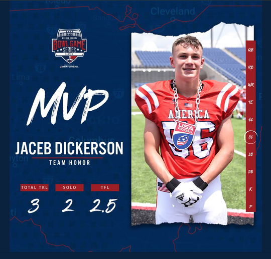 Jake Dickerson was named a defensive most valuable player during the USA Football middle school bowl game series this June.