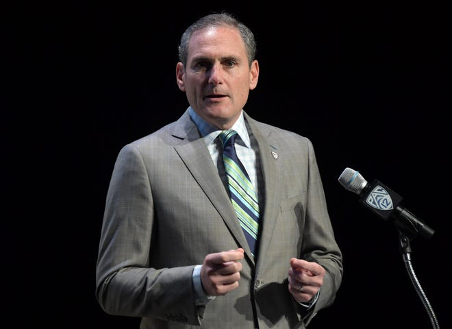 Pac-12 commissioner Larry Scott speaks during Pac-12 football media day.