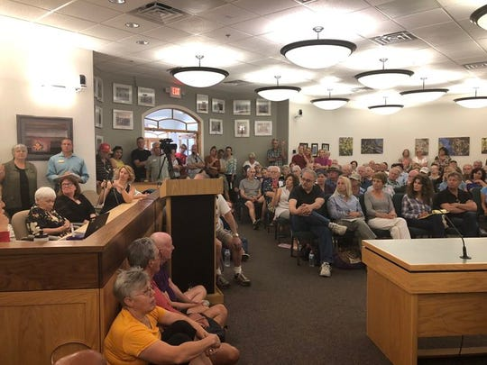 More than 150 residents attended a city meeting Wednesday, July 24 to press Rep. Bob Thorpe about short-term rentals that they say have taken over the city.