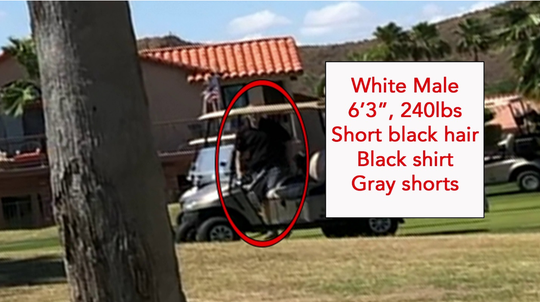 Here's a photo of the suspect making his escape via golf cart.