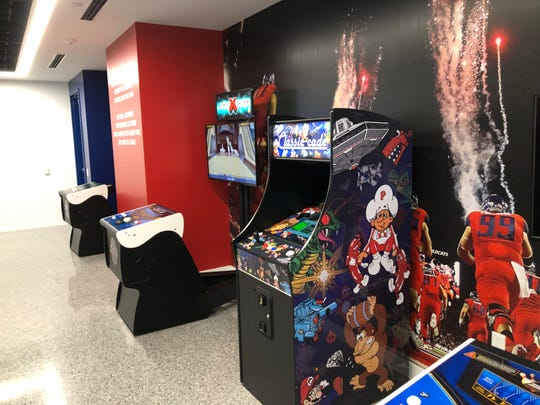 Arcade games are among the employee amenities at the new AT&T call center in Mesa, Arizona.