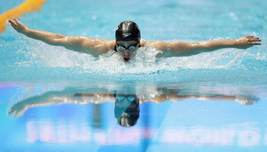 American Hali Flickinger swims in the women's 200m butterfly final at the World Swimming Championships in Gwangju, South Korea, Thursday, July 25, 2019. (AP Photo/Mark Schiefelbein)