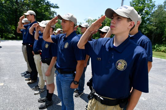 Northern York County Regional Police Explorers practice drill during training, Thursday, July 25, 2019. 