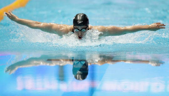 United States' Hali Flickinger swims in the women's 200m butterfly final at the World Swimming Championships in Gwangju, South Korea, Thursday, July 25, 2019. (AP Photo/Mark Schiefelbein)