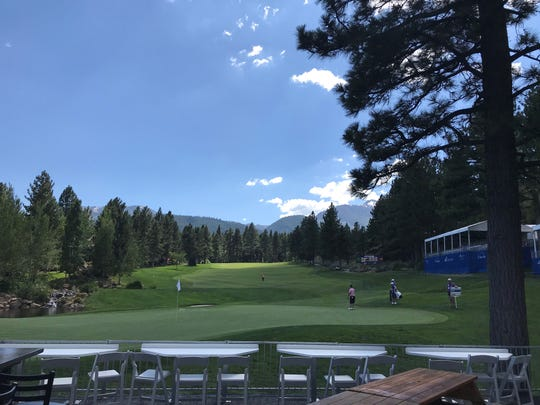 The green and fairway on Hole No. 18 at Montreux on Wednesday