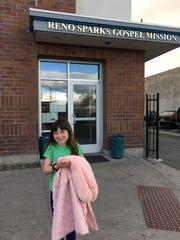 Lizzy Hammond volunteering at the Reno Sparks Gospel Mission.