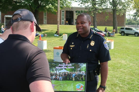 Police Chief La'Ron Singletary at an event at the Frederick Douglass High School campus.