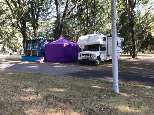 This camper was photographed at 8:15 a.m. Monday, July 22, the day after vendors were supposed to leave the park.