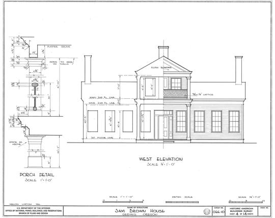 The original house plans for the Sam Brown House, believed to be the first architect-designed residence in Oregon.