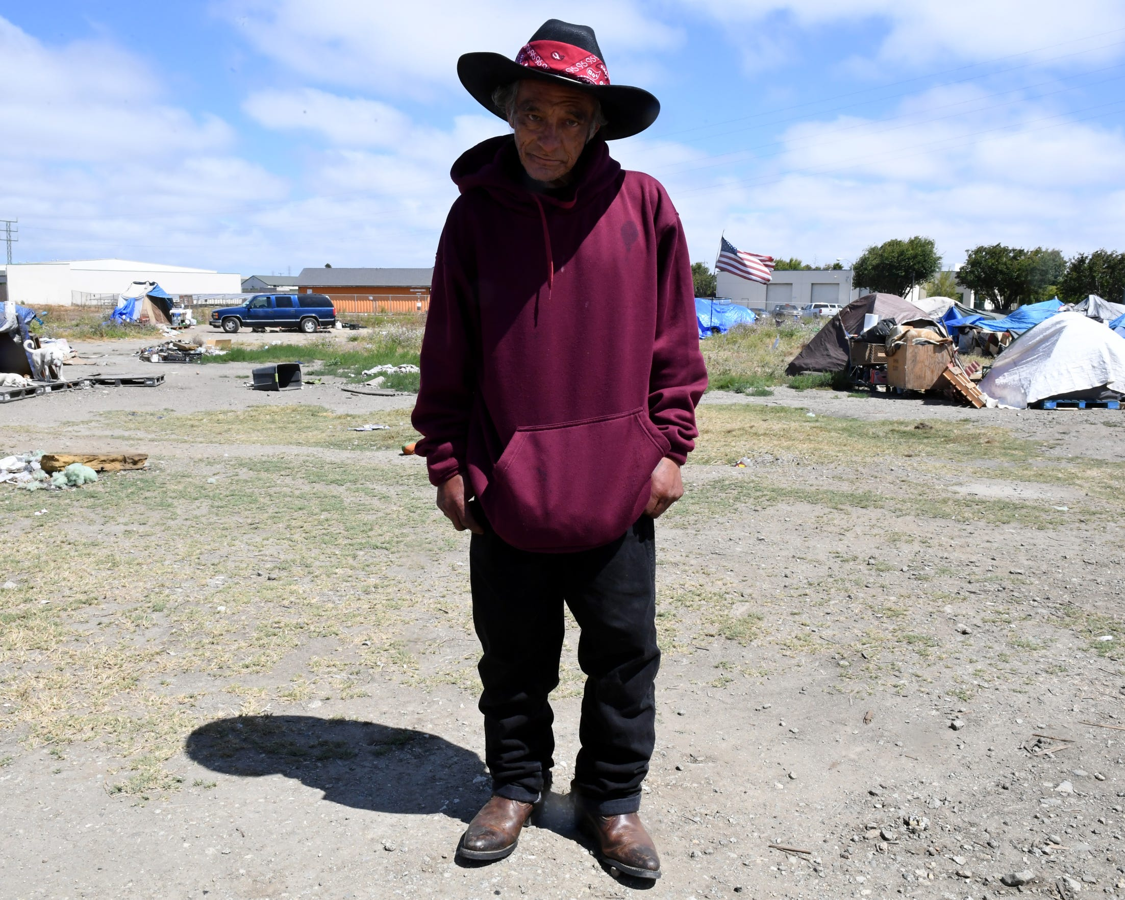Adrian Morfin stands in the place where his RV was confiscated by Salinas police officers earlier this summer. July 3, 2019.