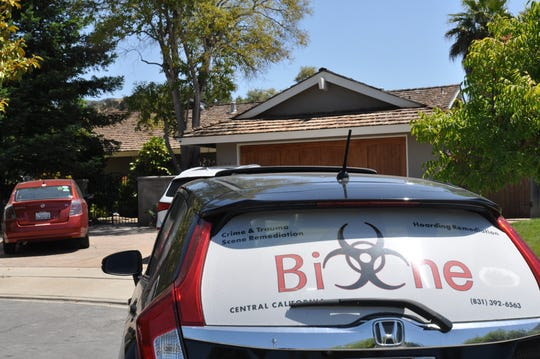 A car from Bio-One, a crime scene cleanup company, is parked outside the Toro Park home where there was an officer-involved shooting. July 24, 2019.