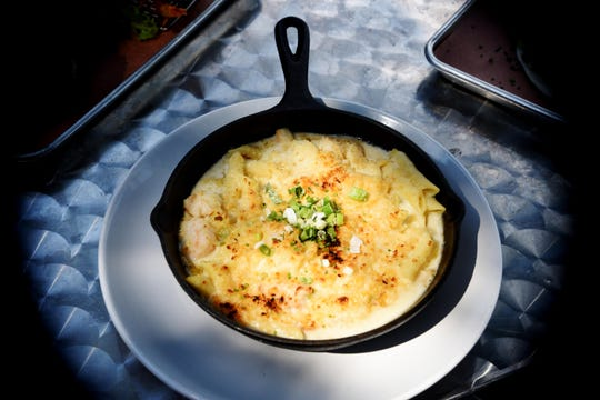 The Seafood Mac and Cheese from the restaurant SALT located inside the Shreveport Aquarium.
