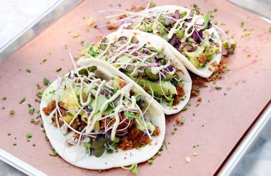 The Veggie Tacos from the restaurant SALT located inside the Shreveport Aquarium.