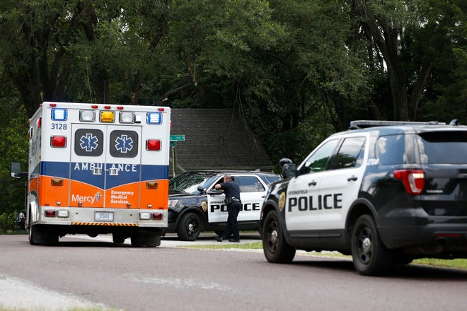 Police investigate a drive-by shooting on South Glenn Avenue on Thursday afternoon.