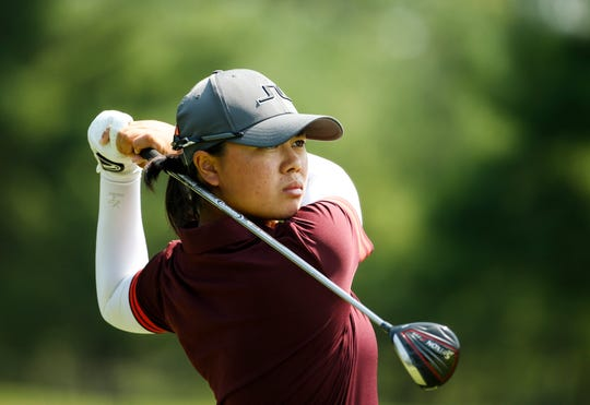 Yuka Saso watches her tee shot on the fifth hole during the round of 64 at the U.S. Girls Junior Championship at SentryWorld in Stevens Point on Wednesday.