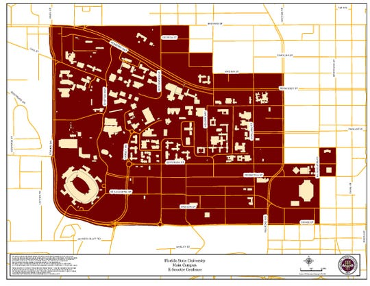 The expanded no-ride zone around FSU's campus.