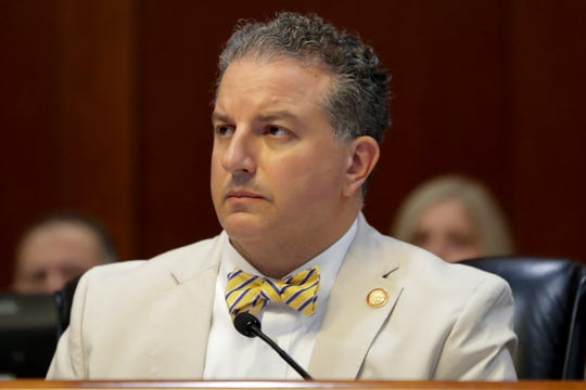 Chief Financial Officer Jimmy Patronis listens as Inspector General Bradley Perry gives a report on former Office of Financial Regulation Commissioner Ronald Rubin during a Florida Cabinet meeting Thursday, July 25, 2019.