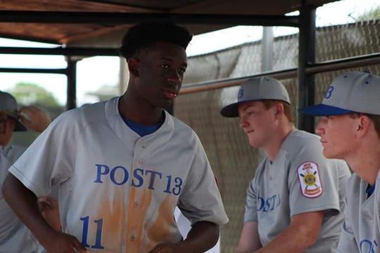 Logan Roberts in the dugout. Tallahassee Post 13 is chasing a fifth straight American Legion state title, which would be an all-time record in Florida.