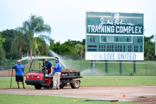 Crews are currently working on updating the field of Holman Stadium at the Jackie Robinson Training Complex in Vero Beach. New grass, dirt and a higher outfield fence were put in place. The bullpen was also moved behind the left field fence.
