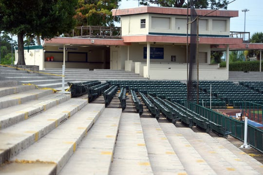 New seating and installation of benches is part of the renovations currently underway at Holman Stadium at the Jackie Robinson Training Complex in Vero Beach. The field is also being updated in preparation for the RBI World Series to be held in August.