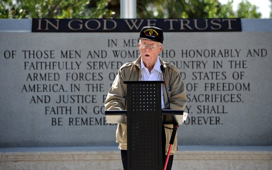 Joe Crankshaw , who served in the First Cavalry Division during the Korean War and was employed by Scripps Treasure Coast Newspapers as a multimedia journalist, spoke Monday, Nov. 12, 2012, as the main speaker during the Veterans Day ceremony and rode as the Grand Marshal during the Veterans Day parade on Monday morning down East Ocean Blvd. in Stuart.