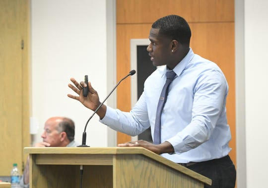 Brandon Gridiron, VUSD's first Administrator of Equity and Student Services, discusses a disciplinary report with trustees. The report reveals that suspension rates for black and disabled students skyrocketed over the 2018-2019 school year.