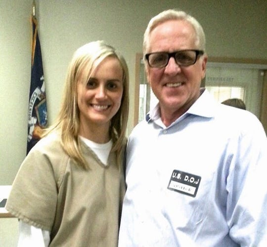 Photo of actor Bill Hoag with Taylor Schilling, who plays Piper Chapman on Orange Is The New Black.