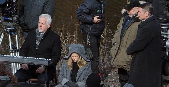 "Actor Bill Hoag, left, on the set of 2019 Academy Award nominated film ""First Reformed"" with Ethan Hawke and Amanda Seyfried where he plays John Elder. ""First Reformed"" was written and directed by Paul Schrader."