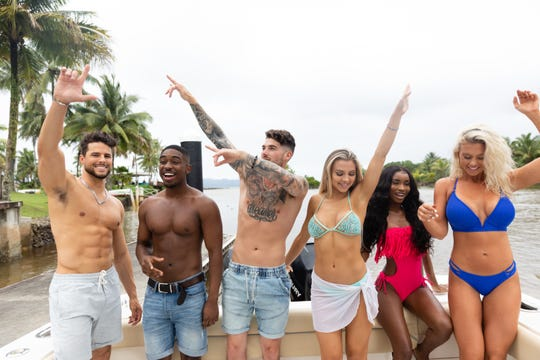 "George Johnson, Ray Gantt, Eric Hall, Marlisse ""Marli"" Tyndall, Aissata Diallo and Kelsey Jurewicz on ""Love Island."""