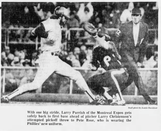 Phillies first basemen Pete Rose sports an all-burgundy uniform in a game against the Montreal Expos on May 19, 1979