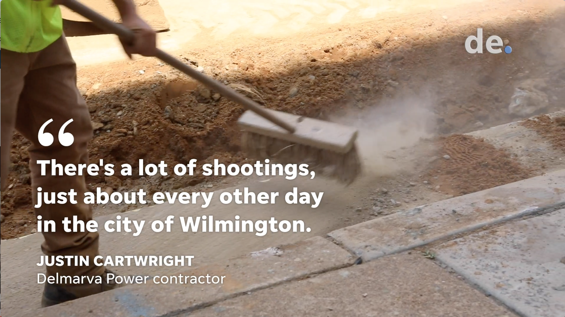 Delmarva Power contractors work nearby after shooting