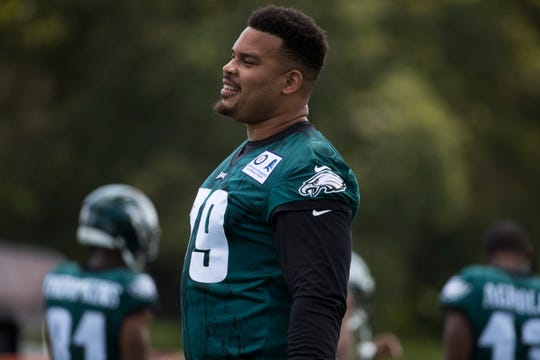 Eagles' Brandon Brooks (79) smiles during training camp Thursday at the NovaCare Complex.