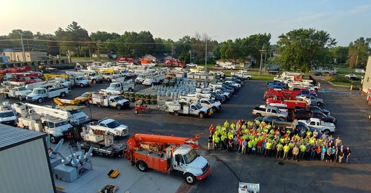 96 linemen representing 45 municipalities across Wisconsin are helping to restore power in Wisconsin Rapids
