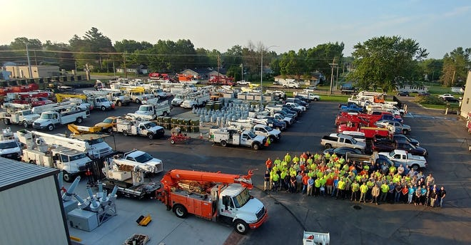 96 linemen representing 45 municipalities across Wisconsin are helping to restore power in Wisconsin Rapids