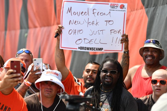 The former Giant already is a fan favorite at the Cleveland Browns Training Complex Thursday.