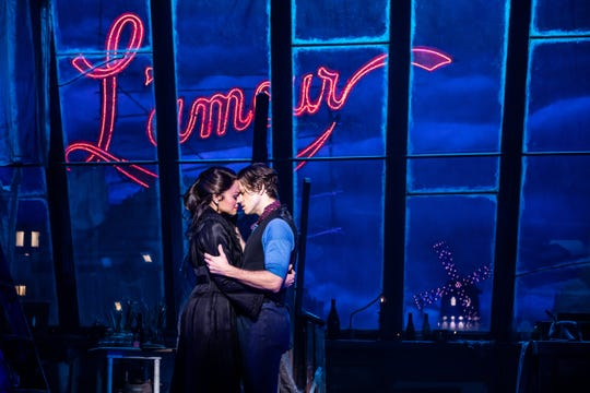 "Satine (Karen Olivio) and Christian's (Aaron Tveit) tragic romance gets a modern update in the stage version of ""Moulin Rouge!"""